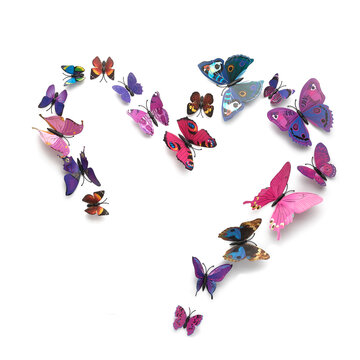 flock of colorful heart-shaped butterflies isolated on white background, square frame, colorful flock of paper butterflies