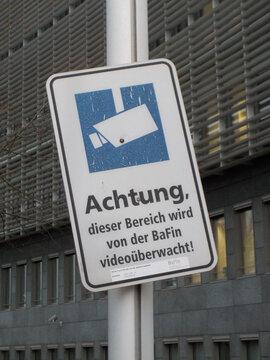 A video surveillance warning singn at the BaFin, Frankfurt