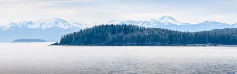 Snow-capped mountains and evergreen trees along the coast of southern Alaska