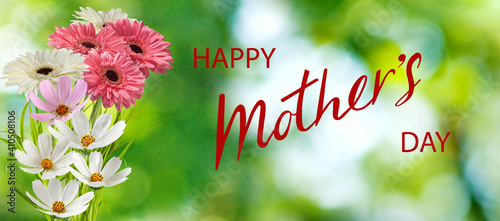 Festive mother's day card..Beautiful flowers on a greeting card.