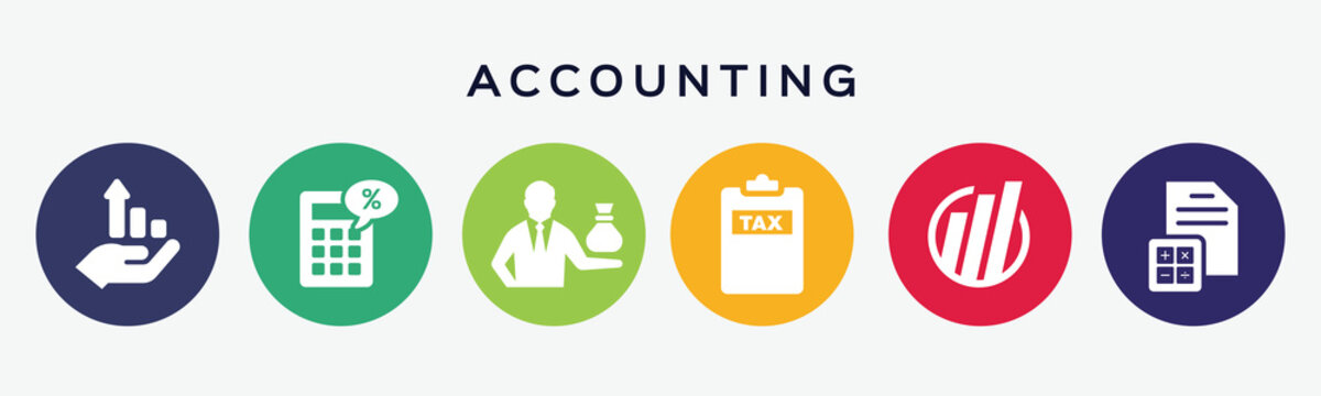 6 circles set with accounting icon in various colors. Vector illustration.