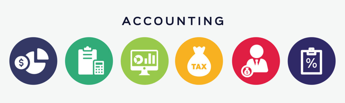 Collection of 6 buttons with accounting icon.