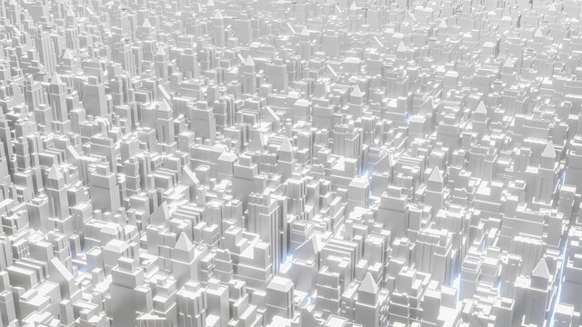 The white city top view image for business or architecture content 3d rendering
