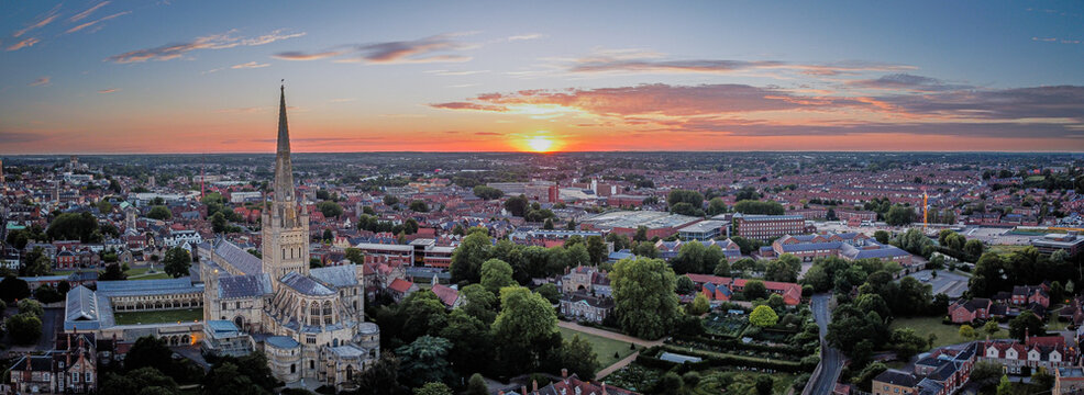 Norwich sunset over the city