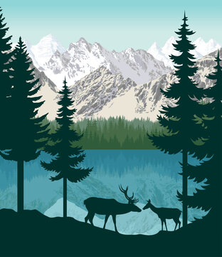 vector mountains with lake and couple of white tailed deers