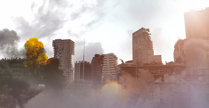 destroyed post-apocalyptic city after war and earthquake render 3d