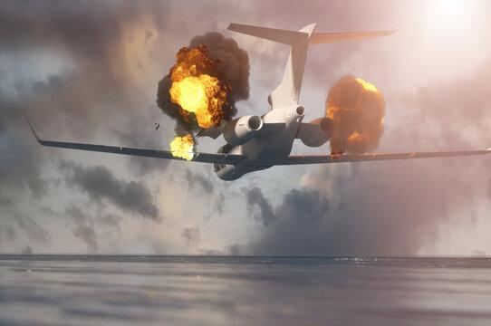 falling burning airplane render 3d