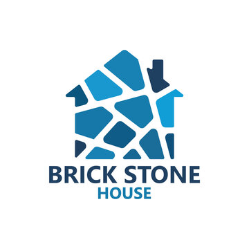 Brick stone house logo template design