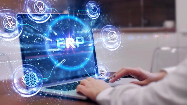 Business, Technology, Internet and network concept. Enterprise resource planning ERP concept.