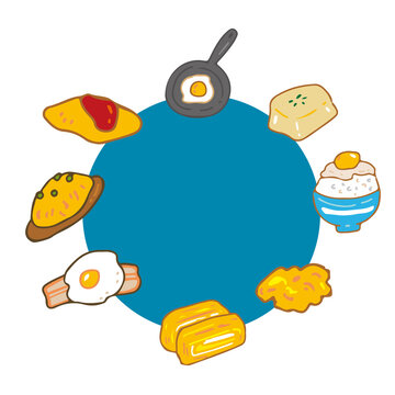 卵料理 円 丸 テキストボックス フレーム