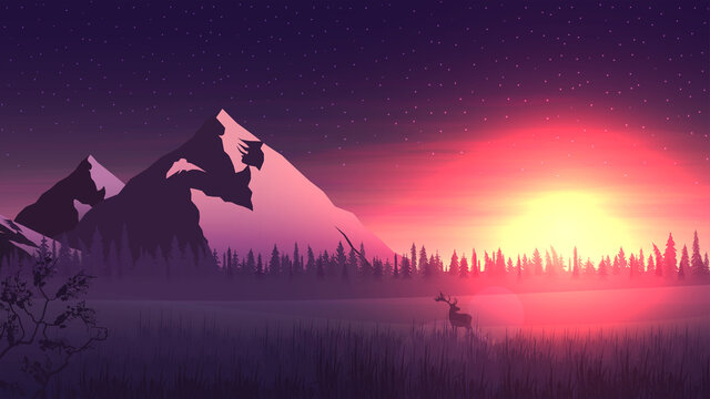 Vector landscape with large mountains and pine forest on horizon, bright orange sunrise and deer in the snowy meadow