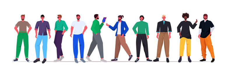 Wall Mural - set mix race young men in casual trendy clothes standing together male cartoon characters full length horizontal vector illustration