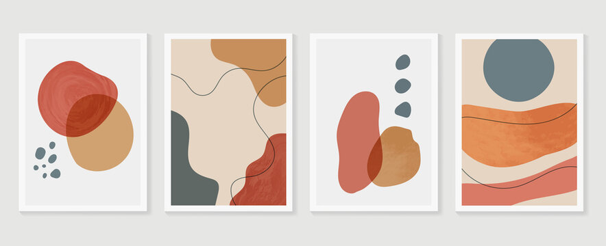 Abstract wall arts background vector set.  Earth tones organic shape watercolor paint art brush design for wall framed prints, canvas prints, poster, home decor, cover, wallpaper. Vector illustration