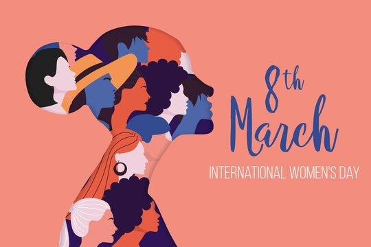 International Women S Day Illustration With Profile Woman