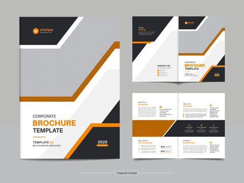 Corporate bi fold business brochure template design with clean, minimal, and modern shapes in A4 format.