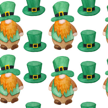 Seamless watercolor hand drawn pattern St Patricks day parade elements, Irish Ireland gnomes dwarfs leprechauns in green emerald hats. Lucky clover shamrock background, magic celtic tradition, symbols