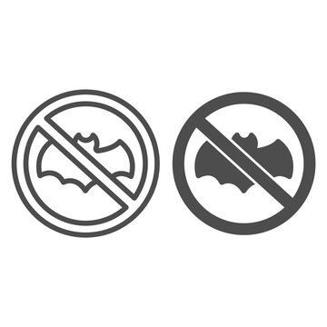 Bat Is Banned line and solid icon, pest control concept, No Bat sign on white background, parasites prohibition icon in outline style for mobile concept and web design. Vector graphics.
