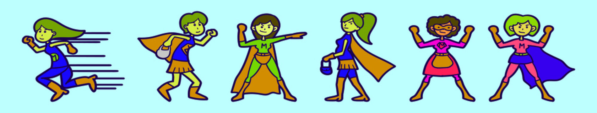 set of supermom cartoon icon design template with various models. vector illustration isolated on blue background