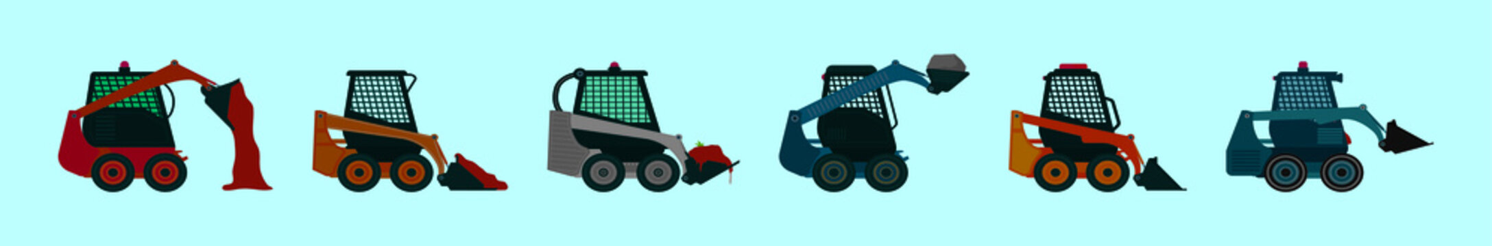 set of skid steer cartoon icon design template with various models. vector illustration isolated on blue background