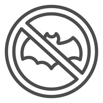 Bat Is Banned line icon, pest control concept, No Bat sign on white background, parasites prohibition icon in outline style for mobile concept and web design. Vector graphics.