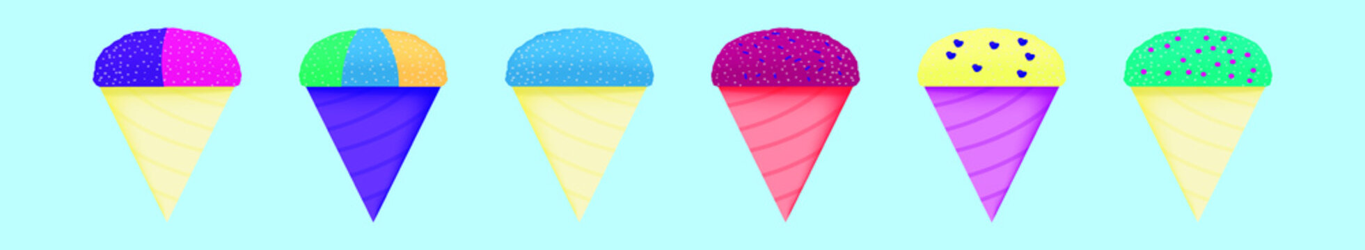 set of snow cone cup cartoon icon design template with various models. vector illustration isolated on blue background