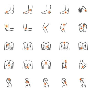Human body ache line icons set. linear style symbols collection, outline signs pack. Body pain and injury vector graphics. Set includes icons as headache, sore throat, spine pain, knee joint injury