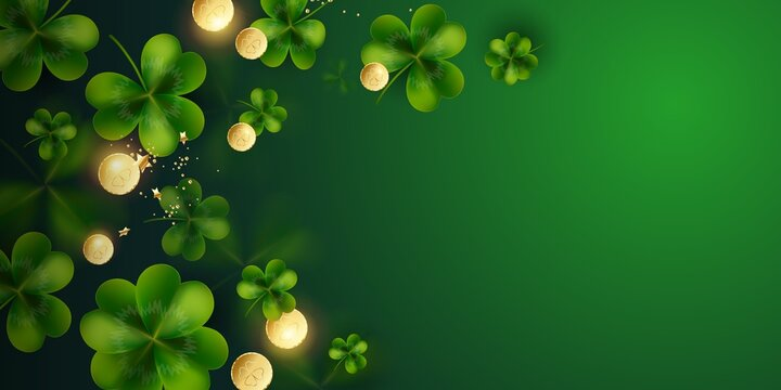 Horizontal Postcard for St. Patrick's Day. Clover leaves with coins on dark green background for greeting holiday design with space for text Vector illustration.