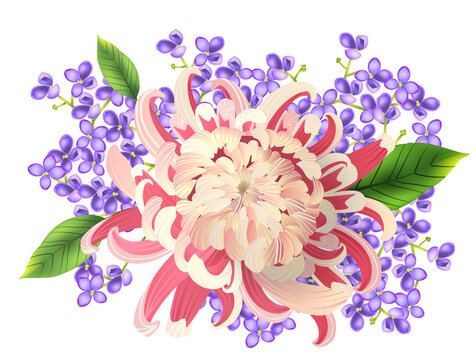Watercolor painting of spring bouquet. Realistic vector illustration