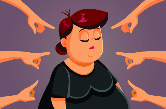 Unhappy Adult Woman Being Fat Shamed and Bullied