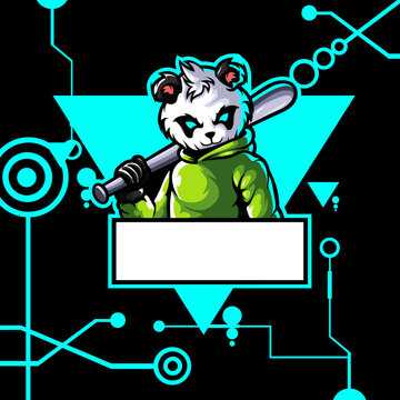 logo esport panda angry expression with blue ornament. logo vector character panda for gaming. theme green color costume character.