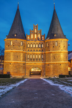 The famous Holsten Gate in Luebeck, Germany, at night