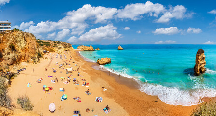 Wall Mural - Landscape with Dona Ana beach at Algarve coast in Portugal
