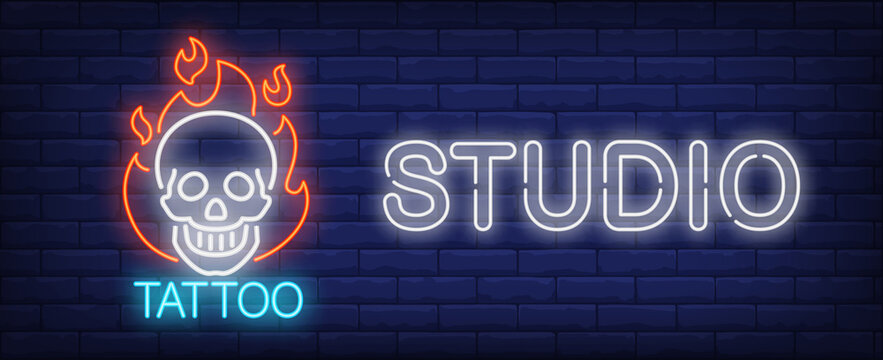 Tattoo studio neon sign