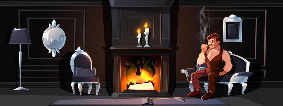 Gentleman smoking tube near home fireplace vector