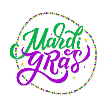 Vector lettering for Mardi Gras carnival, filigree calligraphic font with traditional symbol of mardi gras - fleur de lis. Mardi Gras cheerful text with beads flat design. EPS 10 vector