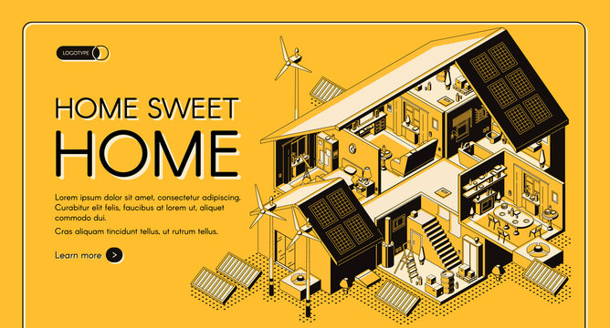 Energy self-sufficient house vector web banner