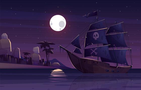 Pirate ship sailing near uninhabited island vector