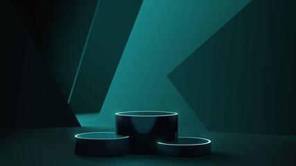 Obraz Futuristic neon podium scene template for product presentation with abstract geometric backdrop, realistic modern pedestal mockup vector - fototapety do salonu