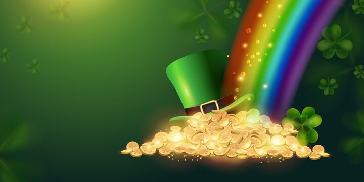 Happy St. Patrick's Day sign background with a leprechaun green shamrock hat full of gold coins at the end of the rainbow. Vector illustration
