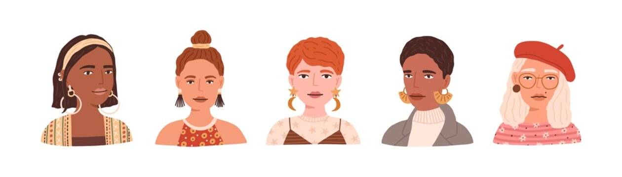 Portraits of young modern women wearing beret, eyeglasses and earrings. Set of trendy and fashion female avatars with different hairstyles isolated on white background. Flat vector illustration