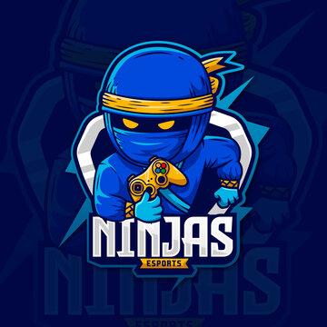 Blue ninja storm mascot logo gaming design assassin character, esport logo template