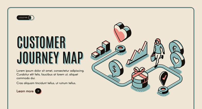 Customer journey map isometric banner. purchasing
