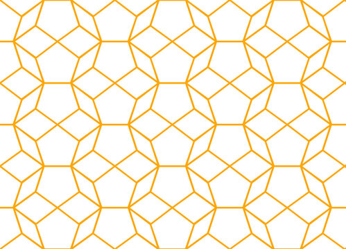 Basic repeating line pattern of decadons forming round 3d effect shapes in gold color on a white background, geometric vector illustration