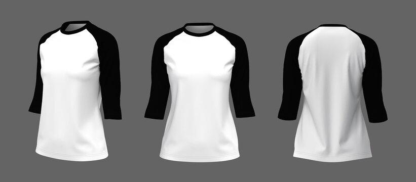 Half-sleeves raglan t-shirt mockup, 3d illustration, 3d rendering