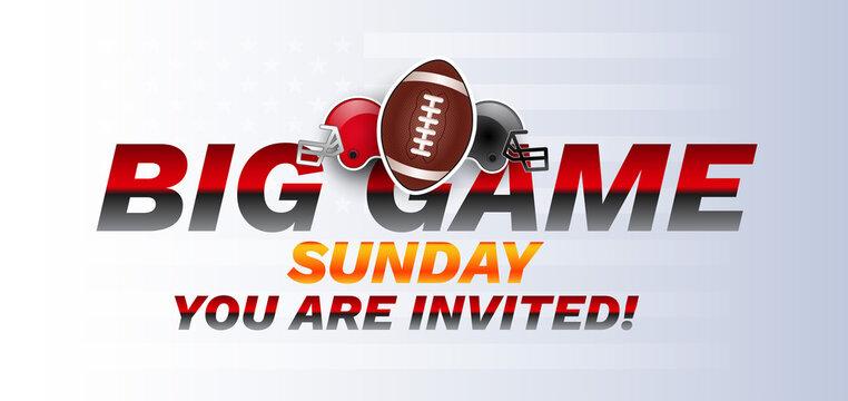 Super big game sunday bowl banner vector illustration