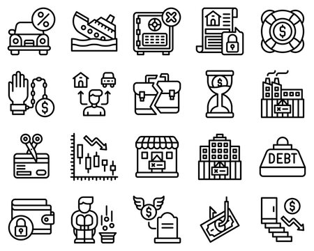 Bankruptcy related vector icon set 4, line style