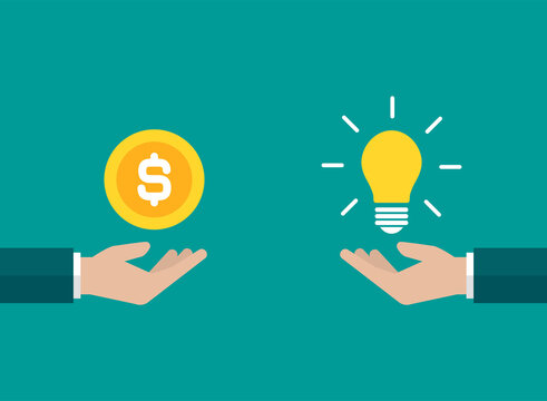 businessman hands with yellow shining bulb and money. Vector flat illustration on blue.