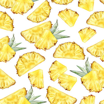 Watercolor seamless pattern pineapple isolated on white background.