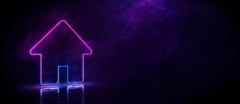 Pink and blue neon light home icon. Vibrant colored technology symbol, isolated on a black background. 3D Render