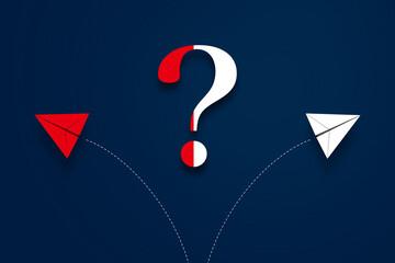 二方向に分かれる軌道を描く紙飛行機と、クエスチョンマーク。選択、分かれ道、どっち、ビジネス、戦略、プラン、進路 - fototapety na wymiar